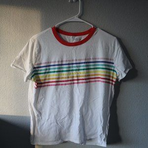 Old Navy Tops - OLD NAVY Rainbow Striped Ringer Tee